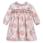 Ivory Dress With Pink & Brown Floral Print