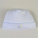 Blue Embroidered Gingham Hat
