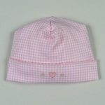 Pink Embroidered Gingham Hat
