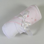 Pink Embroidered Gingham Towel With Washmitt
