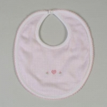 Pink Embroidered Gingham Bib