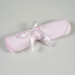 Pink Embroidered Gingham Burp Cloth