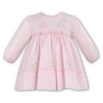 Long Sleeve Pink Smocked Floral Waist Dress