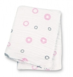 Pink Circles Muslin Cotton Swaddling Blanket