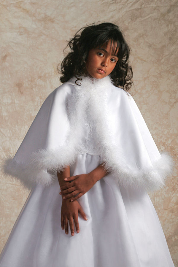White Maribou Satin Cape