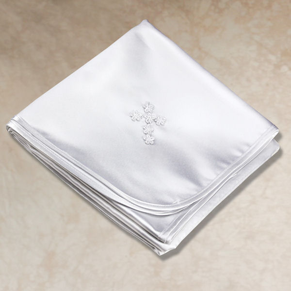 Boy's White Satin Cross Blanket