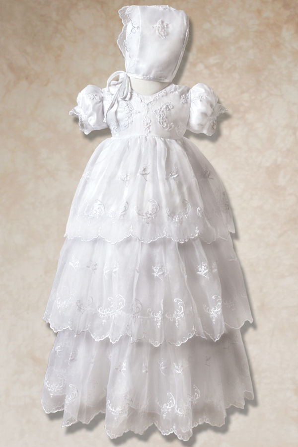 Three Tiered Long Christening Gown