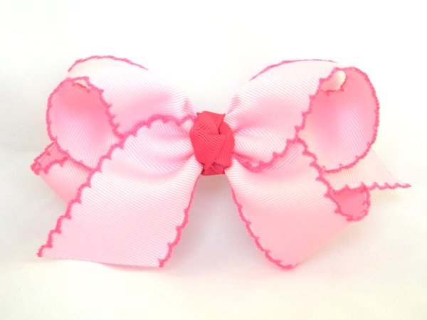 Pearl Pink & Shocking Pink Large Moonstitch Hair Bow