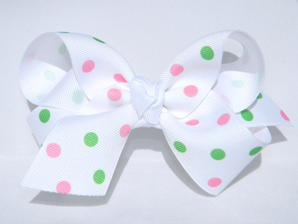 White with Pink & Green Polka Dots Large Hair Bow