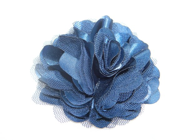 "3"" Navy Blue Satin Rosette Hair Clip"