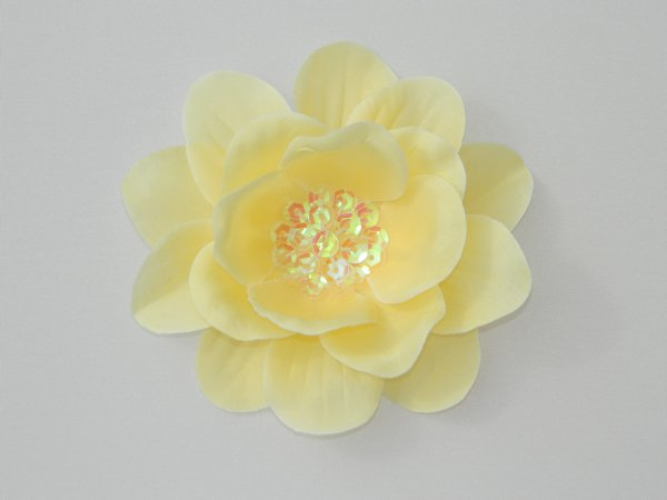 Yellow Sequin Flower Hair Clip