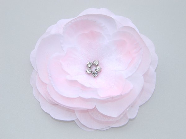 Light Pink Rhinestone Center Flower Hair Clip