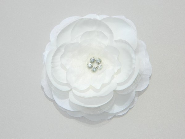 Ivory Rhinestone Center Flower Hair Clip