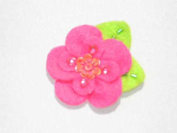 Sequin felt flower hair clips hot pink sequin felt flower hair clip mightylinksfo Choice Image