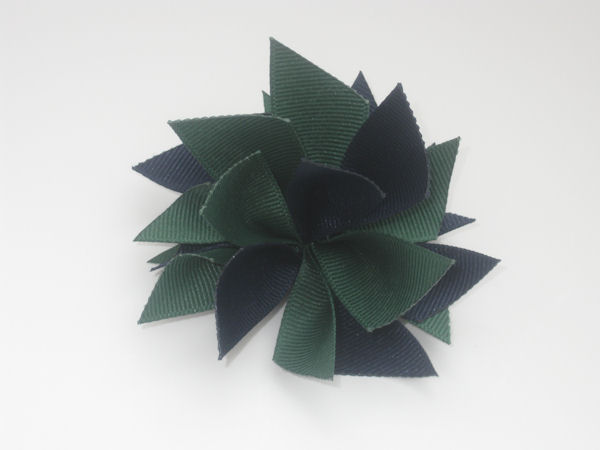Navy and Forest Green Medium Splash Bow