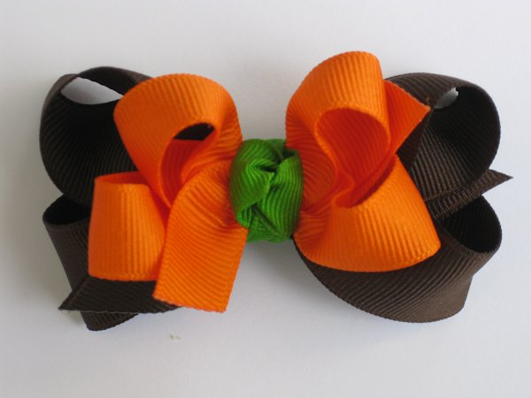 Orange & Brown Medium Double Layered Hair Bow