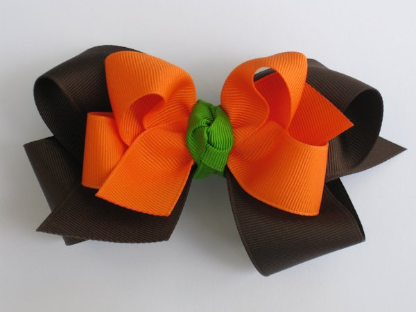 Orange & Brown Large Double Layered Hair Bow