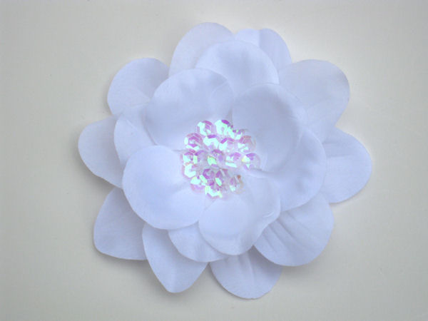 White Sequin Flower Hair Clip
