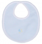 Blue Embroidered Gingham Bib