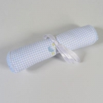 Blue Embroidered Gingham Burp Cloth