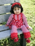Red & White Girl's 2 Piece Pant Set