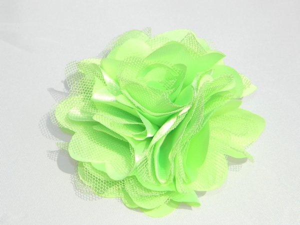 "3"" Lime Satin Rosette Hair Clip"