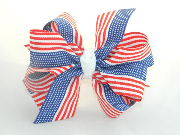 American Flag Large Double Hair Bow