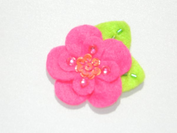 Hot Pink Sequin Felt Flower Hair Clip
