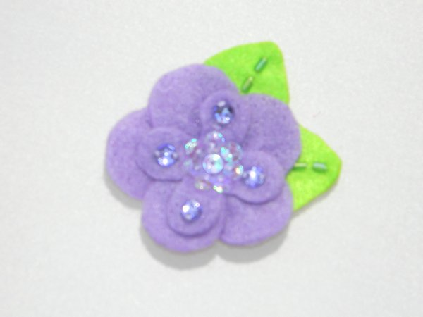 Lavender Sequin Felt Flower Hair Clip
