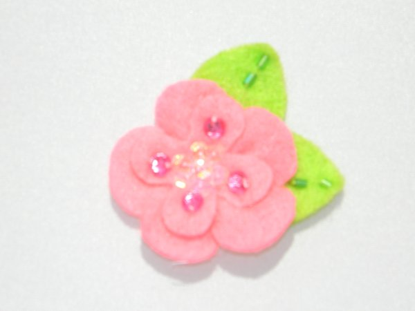 Pink Sequin Felt Flower Hair Clip