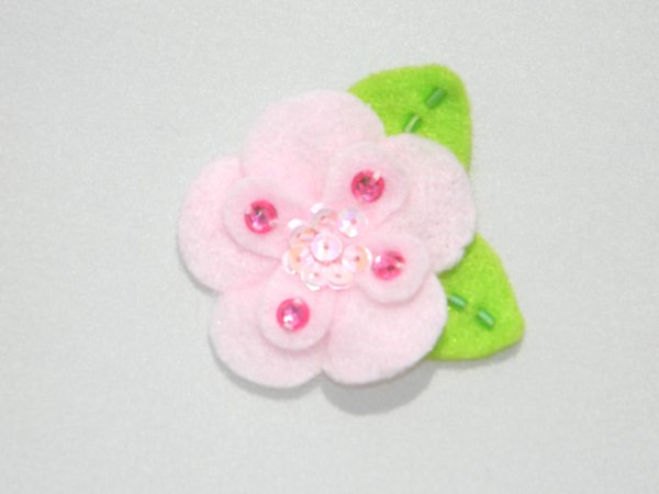 Light Pink Sequin Felt Flower Hair Clip