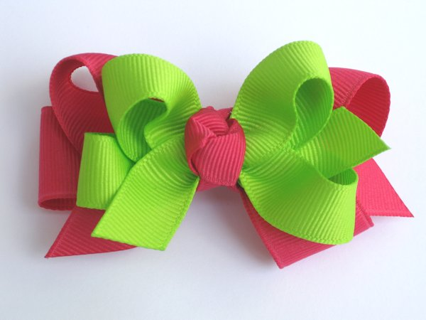 Shocking Pink & Lime Medium Double Layered Hair Bow