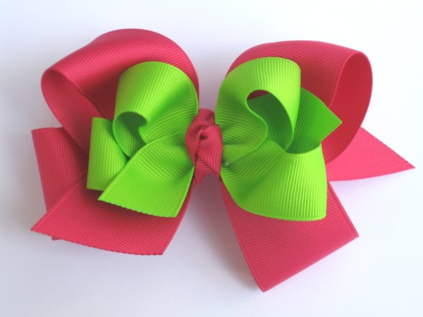 Shocking Pink & Lime Large Double Layered Hair Bow