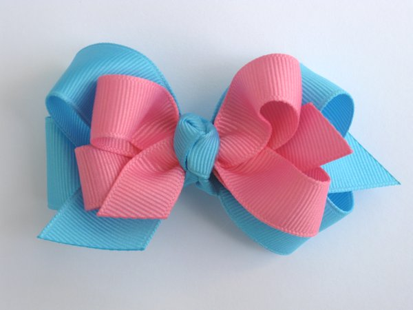 Mystic Blue & Hot Pink Medium Double Layered Hair Bow