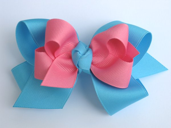 Mystic Blue & Hot Pink Large Double Layered Hair Bow