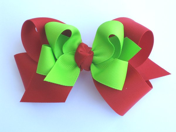 Red & Lime Large Double Layered Hair Bow