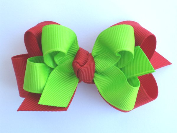 Red & Lime Medium Double Layered Hair Bow