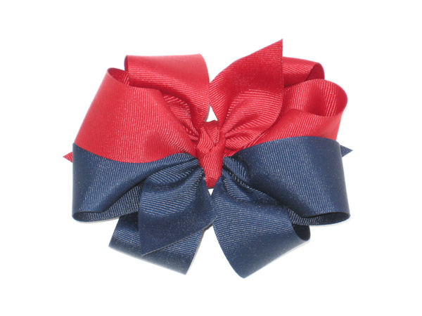 Maroon and Navy Large Double Hair Bow